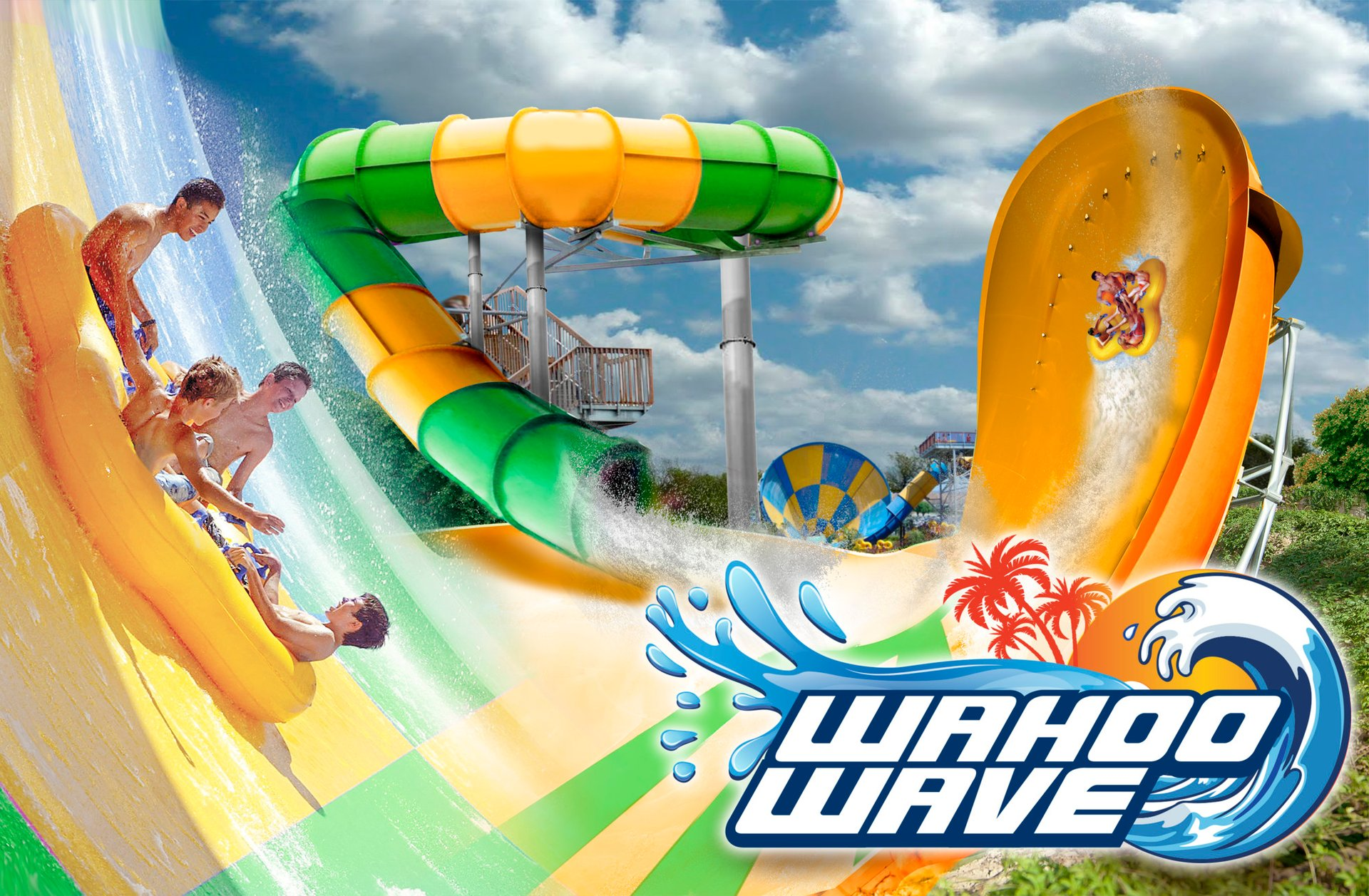 Group of people in tube on the Wahoo Wave ride