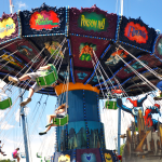 A spinning swing ride.