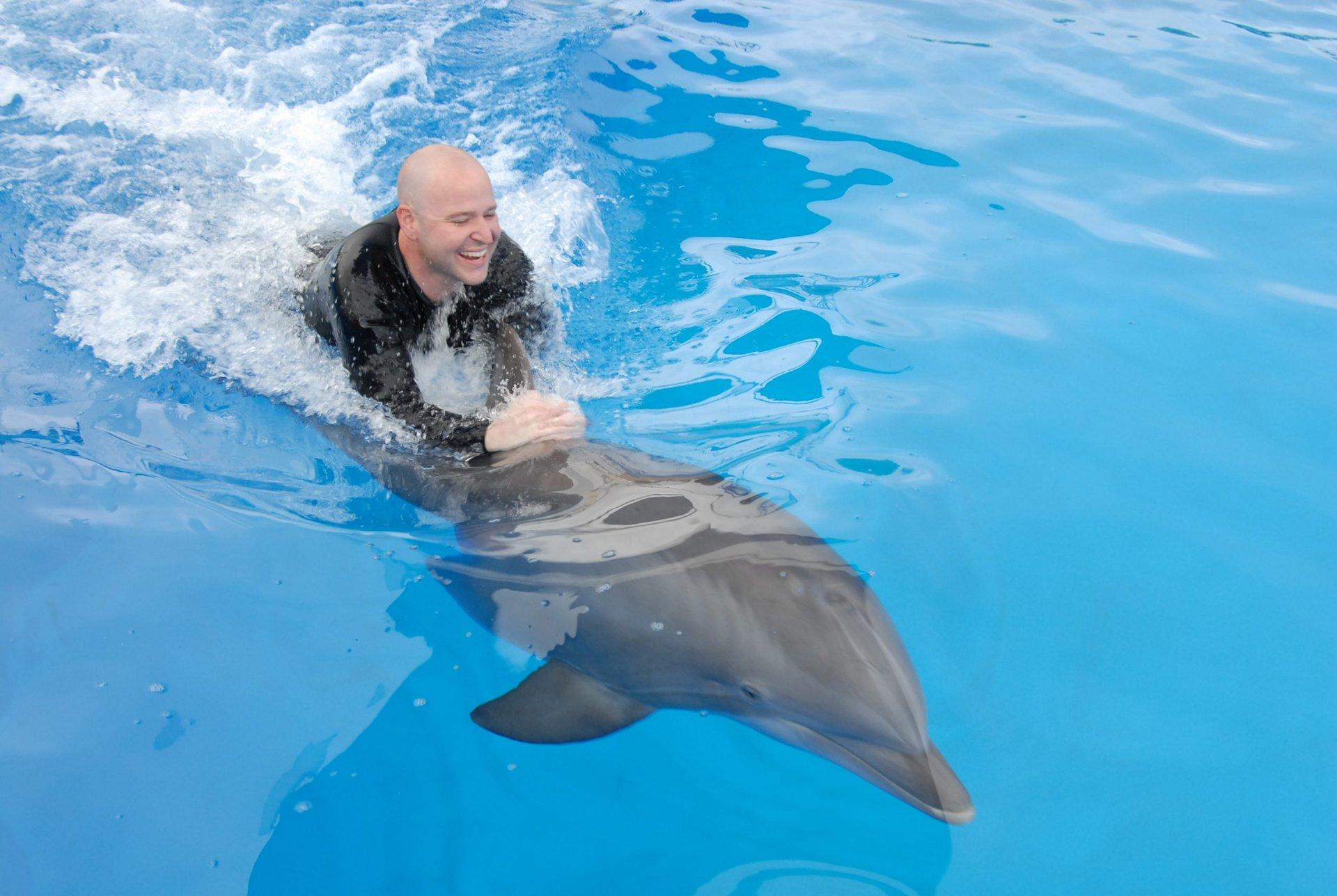A man riding a dolphin.