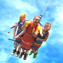 Three people smiling soaring through the air.