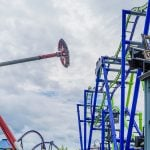 A large spinning pendulum ride.