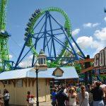 A green roller coaster.