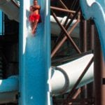 Two tall white water slides.