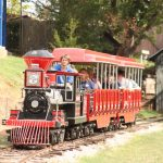 People smiling and riding on a miniature train.