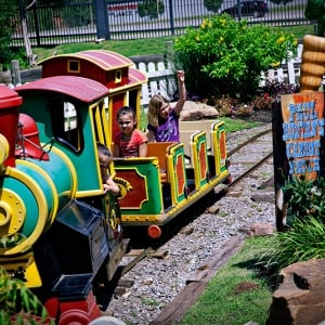 guests riding Bucky's Whistletop Depot