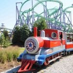 A blue and red miniature train.