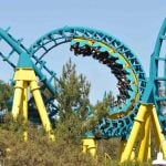 A green and yellow roller coaster.