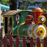 A miniature green and yellow train.