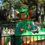 A spinning frog ride.
