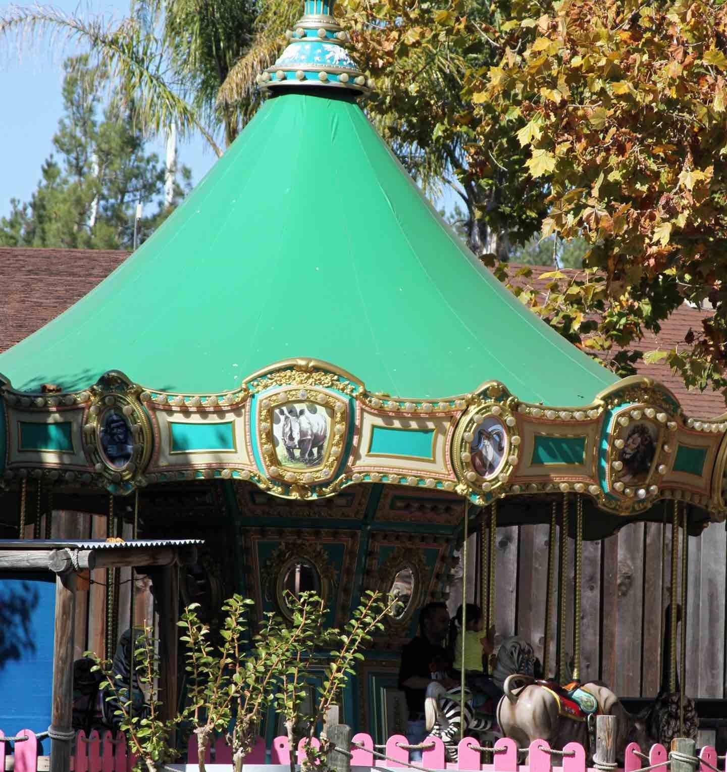 A small green carousel.