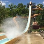 Guest going down a waterslide.