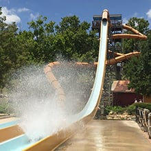 Guests going down a waterslide.