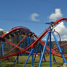 A red and blue roller coaster.