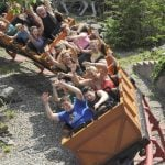 Roller coaster going down hill.