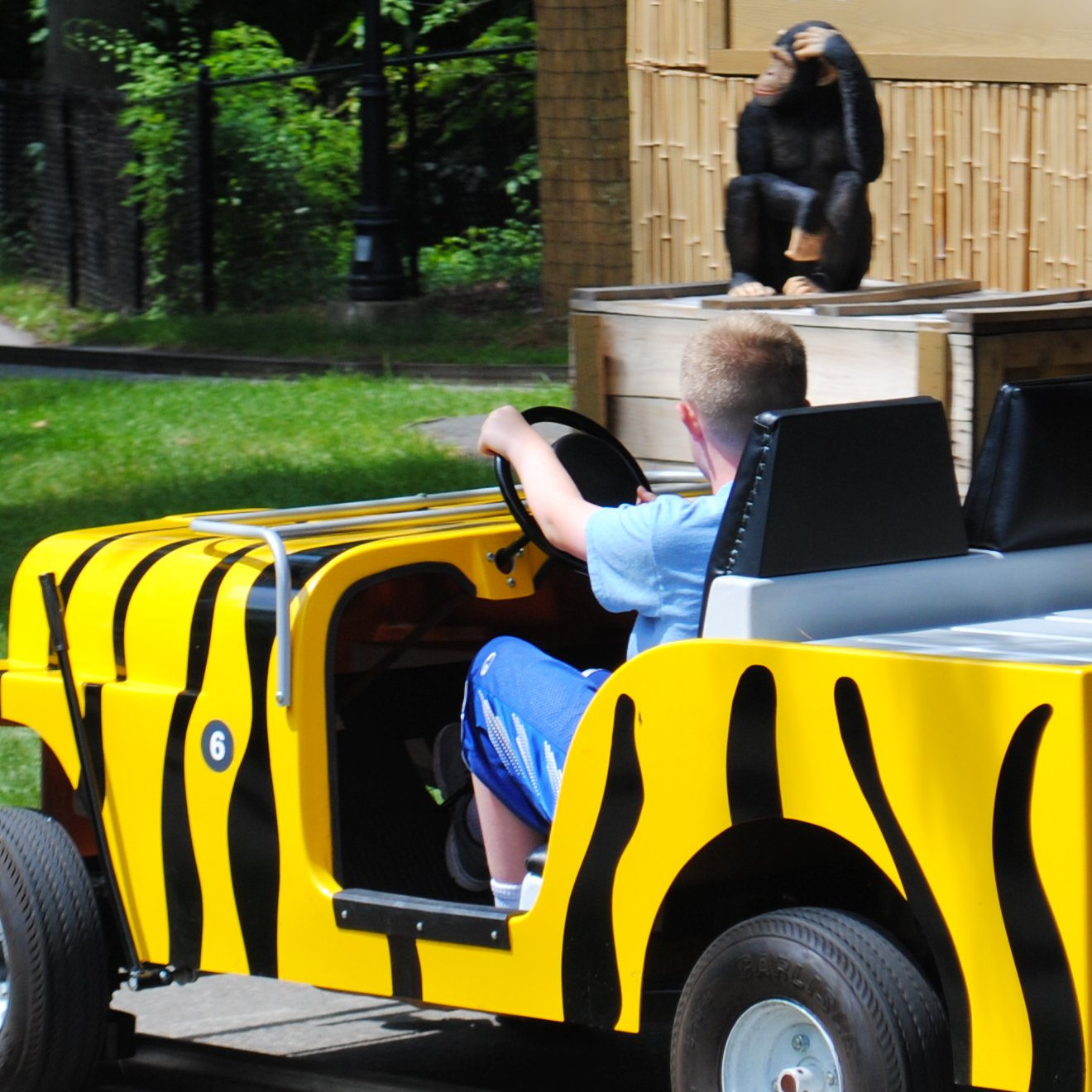 Kids riding in miniature jeeps.