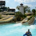 People going down a waterslide.
