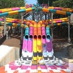 Seven colorful waterslides.