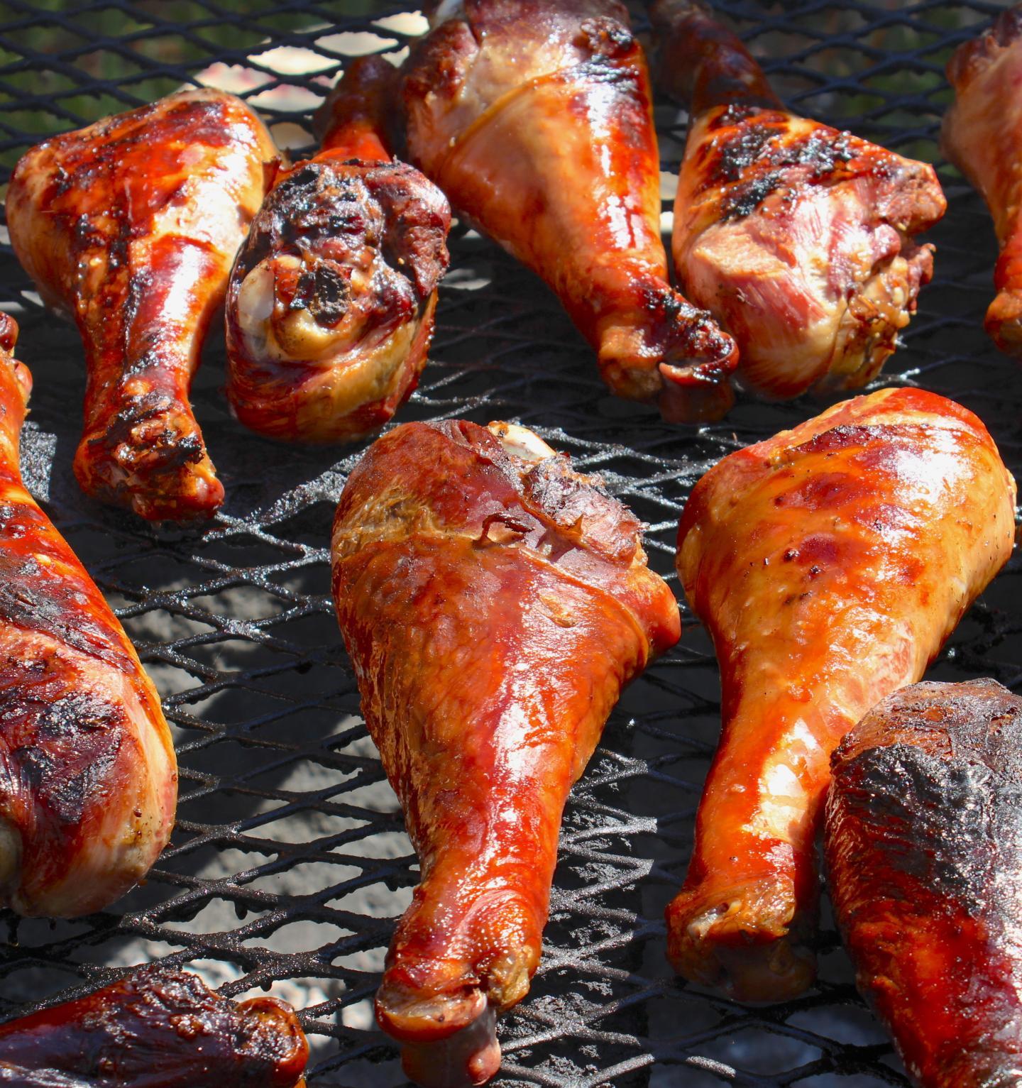Turkey legs on grill