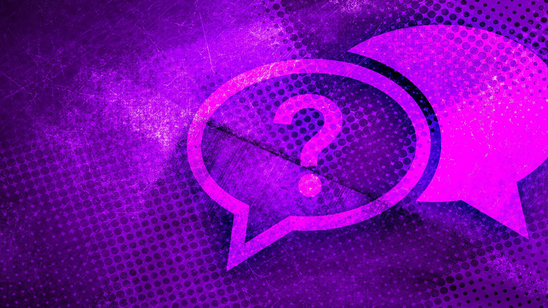 Chat bubble with question marks