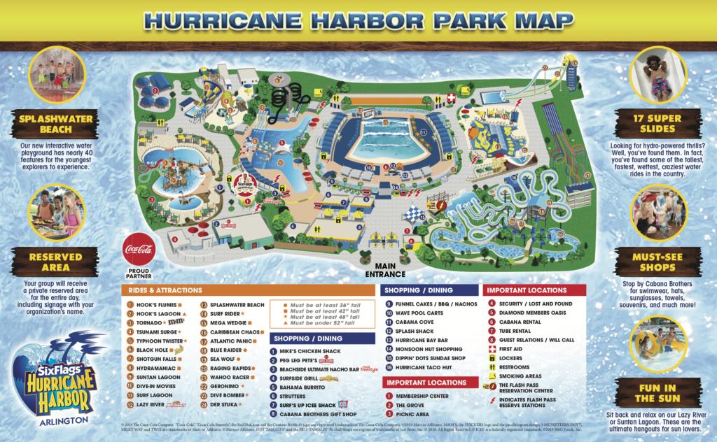 Hurricane Harbor Texas Park Map