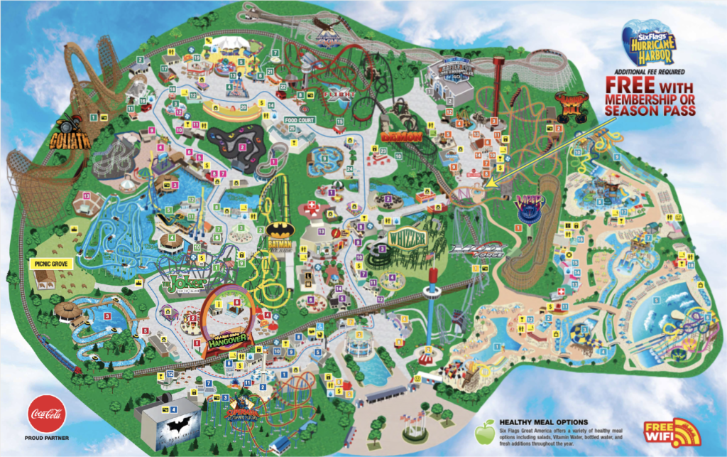 Six Flags Great America Park Map