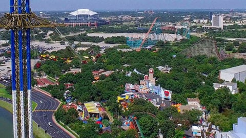 wide shot of six flags over texas