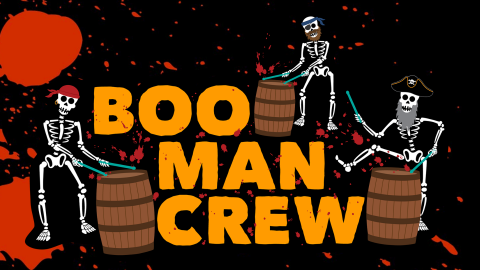 Boo-Man-Crew- With Pirate Skeletons and Barrels