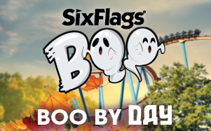 Boo logo with ghosts coaster and fall leaves