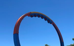 view of brain dead train upside down on a giant loop at six flags