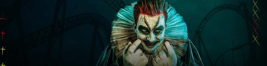 Creepy smiling clown.