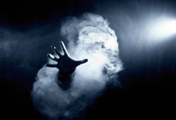 Fright Fest hand reaching through the fog