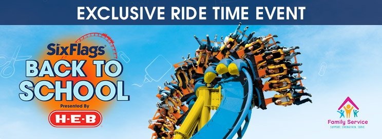 HEB Exclusive Ride Time banner with an image of guests on a twisting coaster