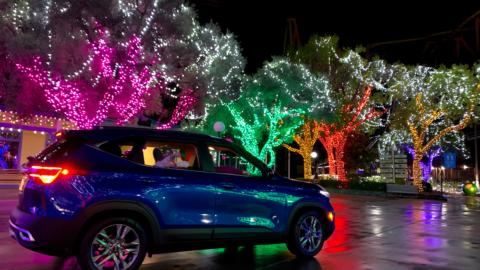 car drive-thru holiday lights