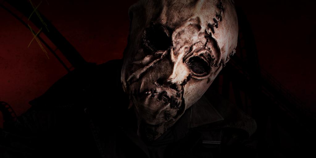 Spooky man in a burlap mask