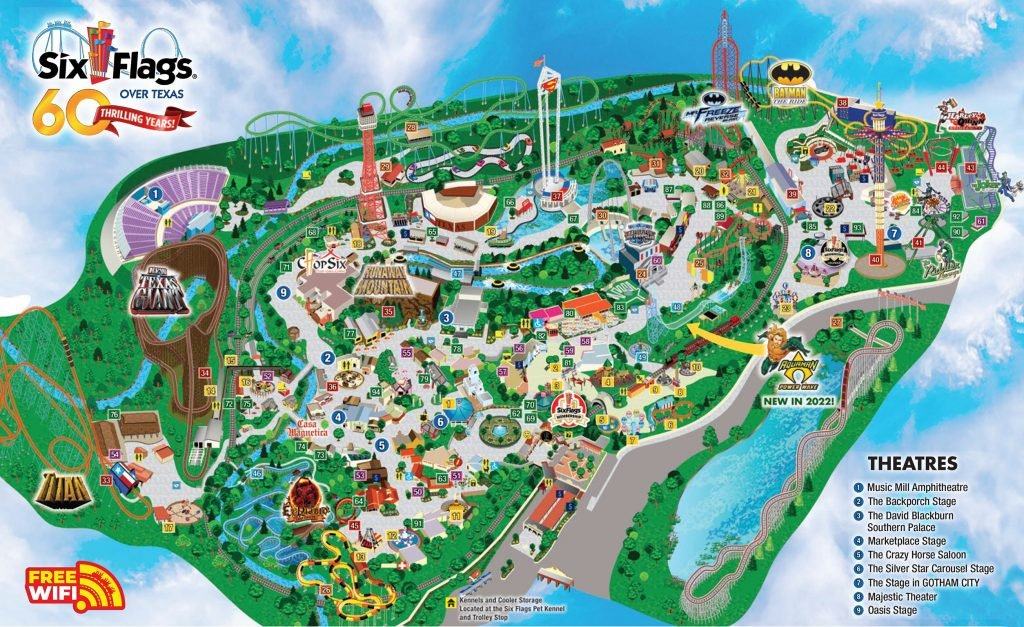 map of six flags over texas