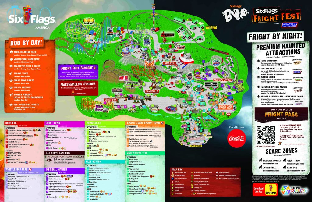 Six Flags America Fright Fest Park Map