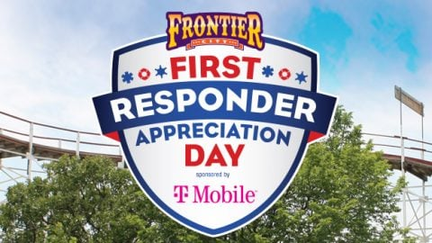 First Responders Appreciation Day presented by T Mobile logo with a coaster in the background
