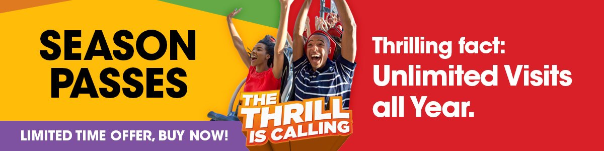 Six Flags Season Passes on sale now. Visit all season long.