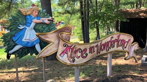 Alice in Wonderland ride sign at The Great Escape