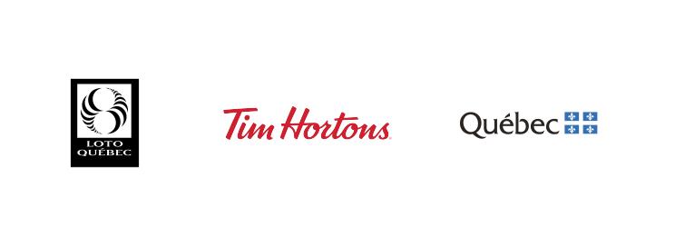 Quebec Loto, Tim Hortons and Quebec logos.