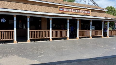 Outside of Busted Barrel Saloon at Six flags
