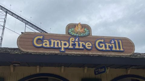 Campfire Grill sign at Six Flags