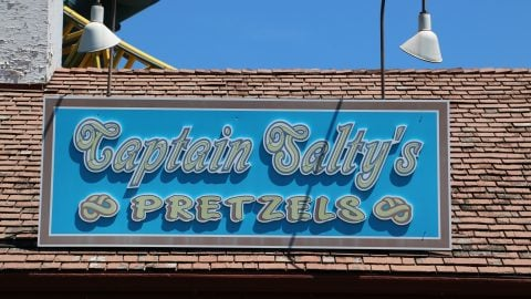 Captain Salty's Pretzels sign at Six Flags