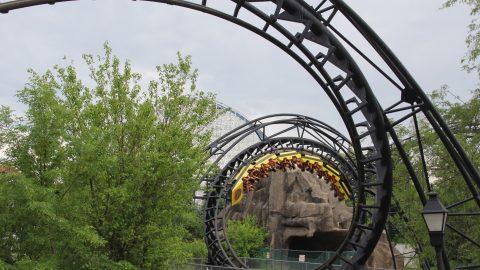 Coaster going through a corkscrew