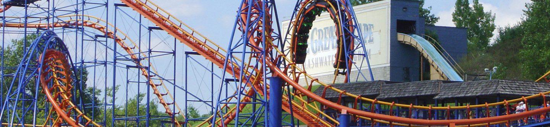 Roller coaster going through a loop.