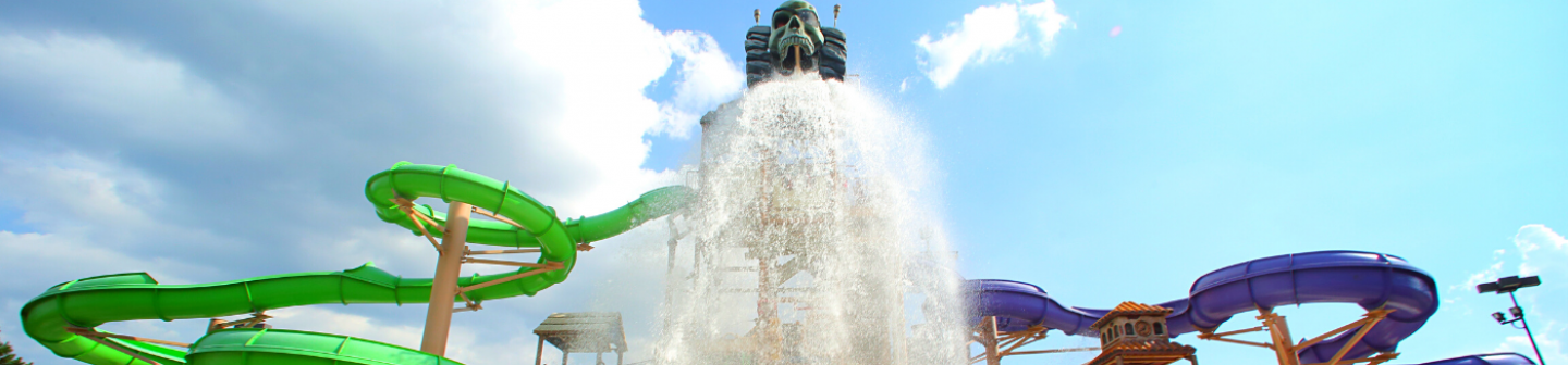 Water coming down from waterslide on Skull Island
