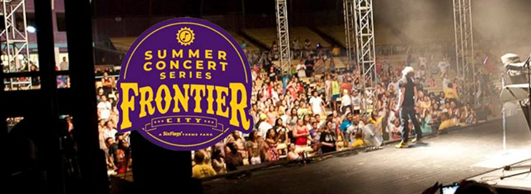 Summer Concert Series at Frontier City logo with a crowded concert in the background