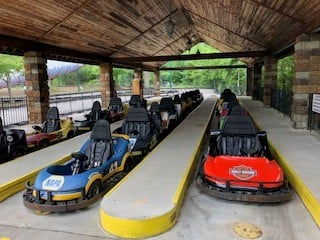 Go Karts lined up at Six flags