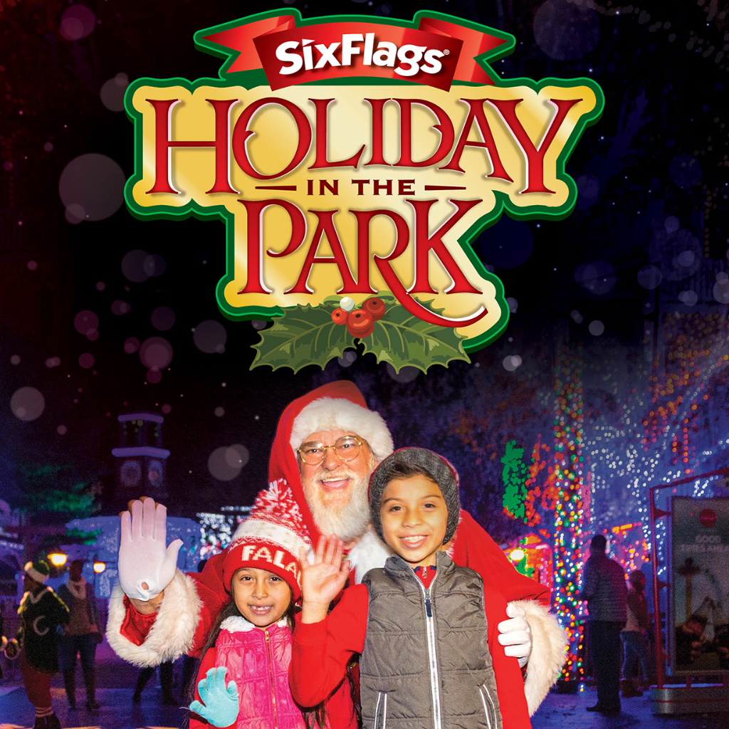 Six Flags Holiday In The Park with Santa and kids