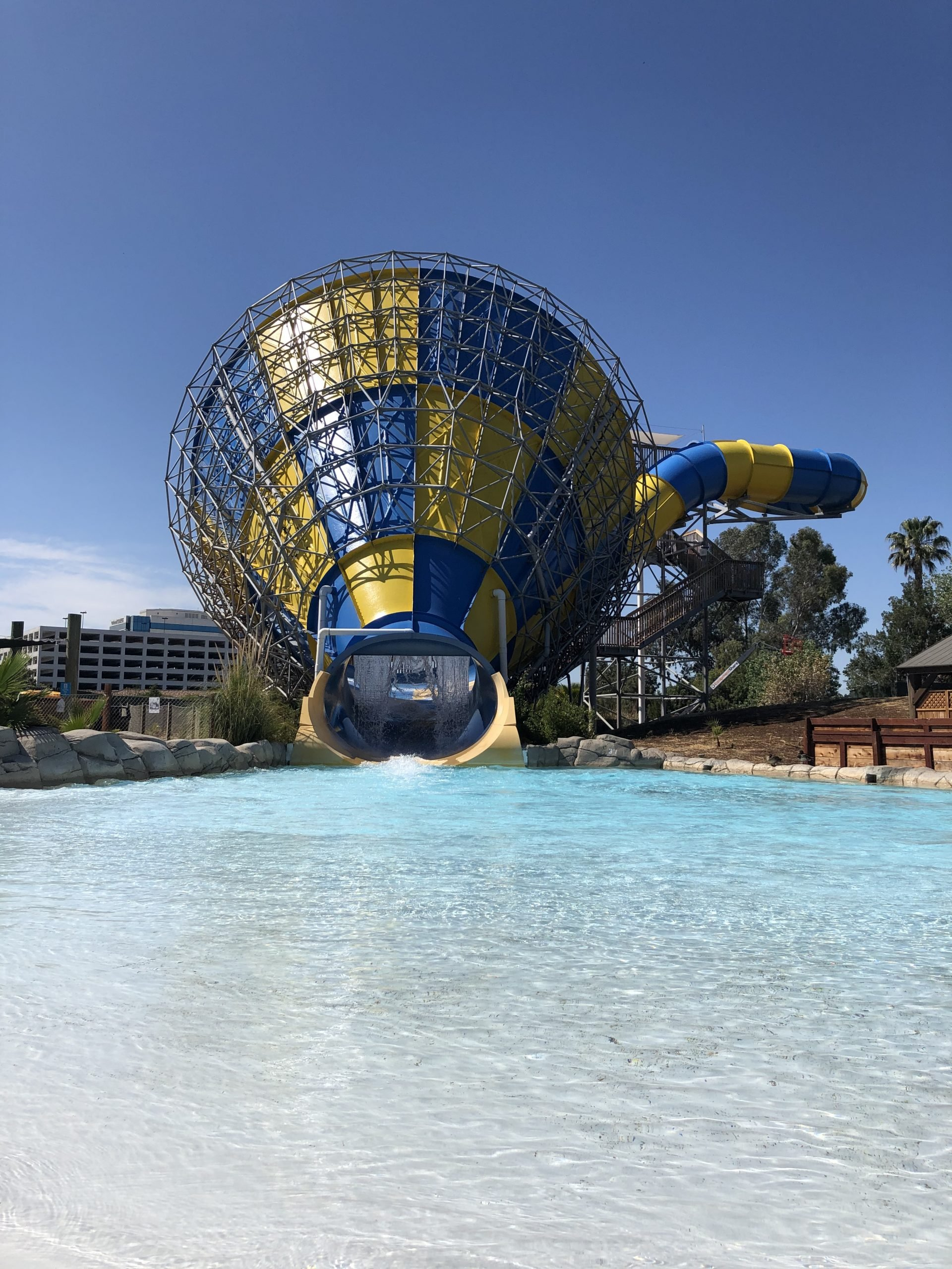 view of the splash down pool for The Big Kahuna at Hurricane Harbor